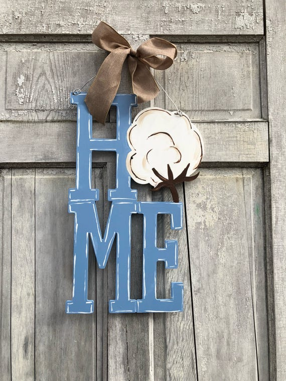 Cotton Boll, HOME door hanger, cotton door hanger, hand painted welcome sign, spring door hanger, Home sign, Southern door hanger