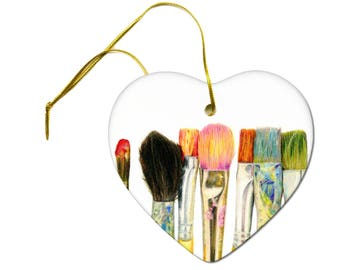 Artist Original Art Print of Paint Brushes on a Ceramic Hanging Heart Ornament