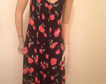 70's Midi Sundress Black with Red Roses Size L