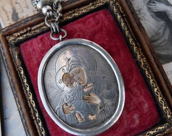 Antique Virgin Mary Reliquary Necklace, A Marian Talisman for the Devotional, by RusticGypsyCreations