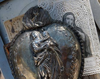 Antique French Flaming Heart Ex Voto, The Heart of Mary, offered by RusticGypsyCreations
