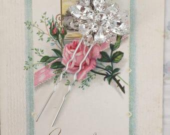 Wedding Hairpin - Handmade Wedding - Hair Accessory - Hair Brooch - Bridal Hairpin - Wedding Hairpin - Wedding Accessory - Crystal Headpiece