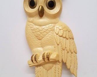 Vintage Chalkware Hanging Owl