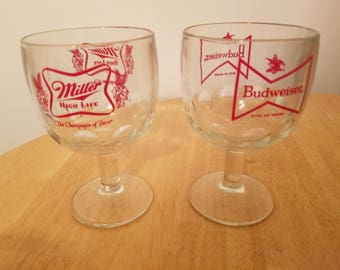 Vintage Miller and Budweiser Beer Stem Goblet Glasses