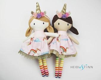 CUSTOM ORDER for aysonlang  Unicorn dress up Mini Pals soft rag doll keepsake gift OOAK ready to ship pink white