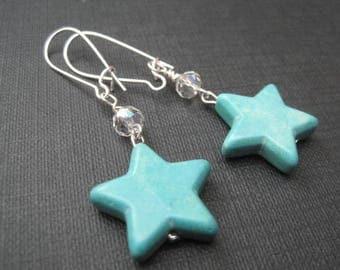 Turquoise Magnesite Star Dangle Earrings