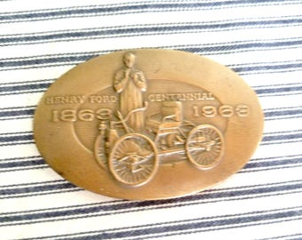 Ford 1963 Centennial Medallion, Brass Emblem Automotive Memorabilia, Vintage Car Collectible, Classic Car Ornament
