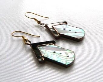 "Vintage Handcrafted Iridescent Stained Glass Birdhouse Earrings - Pierced Hooks - Dangle Drop Earrings - 2 1/4"" Long"