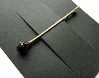 Black Spinel Bobby Pin - 6mm  - Gemstone Bobby Pin