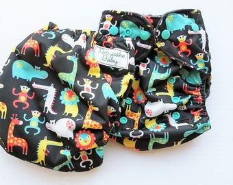One Size, cloth diaper cover, fleece lined PUL with AI2 option, safari animals, giraffe, lion, zebra, monkey