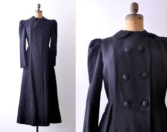 1940's Black Evening Coat. S. 40's full length coat. Double breasted.