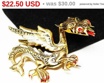 Damascene Fire Breathing Dragon Pin - Chinese Mystical Dragon Brooch - Gold & Black Red - Vintage 1960s - signed SPAIN - European Jewelry