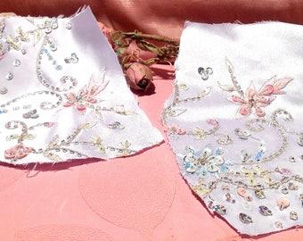 Vintage  Fabric Remnants Beaded Blue Crystal Pink