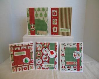 Christmas Card Assortment, Holiday Greeting Cards, Set of 5 Holiday Cards, Handmand Christmas Cards,