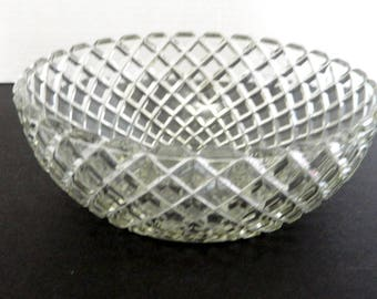 Anchor Hocking Waterford Waffle Pattern Serving Vegetable Fruit Bowl Crystal