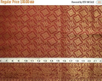 CIJ SALE red brocade fabric with gold pattern and border - br050 - 1 yard