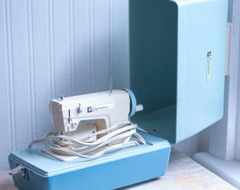Vintage Sewing Machine, 1950s Signature Junior Light Blue Portable with Case