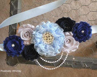 Blue Maternity Sash, Boy Maternity Sash, Pregnancy Sash, Flower Sash, Baby Shower Sash, Navy Blue, Royal Blue, Light Blue, Gray, RTS
