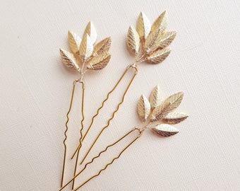 Gold Leaf Hair Pins, Gold Vine Hairpieces, Leaf Hair Comb, Wedding Hair Pieces, Leaf Hairpieces, Gold Hairpins, Leaf Headpieces, Bridesmaid