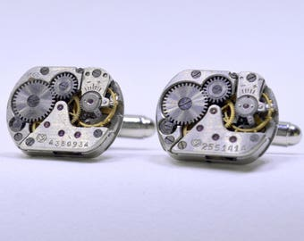 rectangular USSR Cufflinks lovely set of watch movement cuff links, ideal gift for a wedding, anniversary or birthday 74