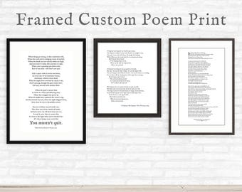 Custom Poem Print Framed, personalized gift, custom quote with frame
