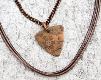 Mandala Necklace — Guitar Pick Necklace — Original Mandala Design — Mandala Jewelry — Coppler Necklace — Copper and Leather Jewelry