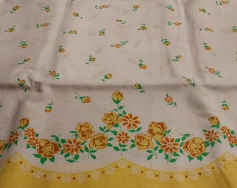 Vintage Feed sack Feedsack Floral Pillowcase White with Yellow Shabby Roses Vintage Bedding Mid-Century Textiles