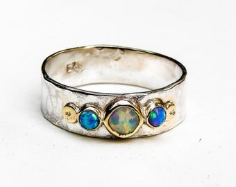 White opal Ring, Opal, Promise Rings, Engagement Ring ,anniversary gift, Gift for her ,silver ring , Blue Opal ring, Birthday gift, Mom gift