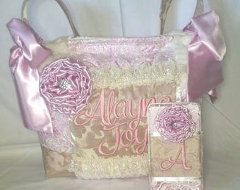 Beautiful Large Baby Toddler Girl Vintage Style Diaper Bag light pink cream satin bows lace Vail fabric Flowers Broach bling chic whimsical