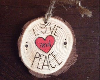 Love and Peace Wood Ornament