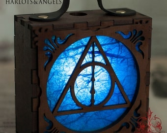 Steampunk Lamp, Harry Potter, Geek Gift, Steampunk Accessory, Deathly Hallows, Cosplay, Larp, Hogwarts, Wearable Lantern, BLUE