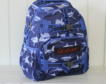 Small Backpack With Monogram (Small Size) Pottery Barn -- Navy Great White Shark