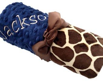 Giraffe Print Minky Baby Blanket with Baby Navy Dot Minky Back, Lovey Size