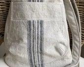 LINEN Cross Body bucket BAG: natural & black grain sack stripe   black white seersucker stripe lining   teal blue pocket