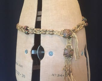 Vintage late 1960s - or earlier - macrame hip belt with carved and painted wooden beads
