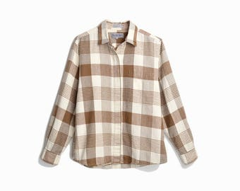 Vintage 80s DVF Flannel Plaid Boy Shirt in Brown & Ivory - women's small/medium