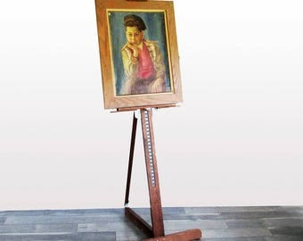 Large, Tall Vintage Wood and Steel Painter's Easel - Adjustable Studio Easel Ready for Large Canvas Sizes