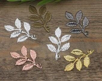 Wholesale 50 Brass Filigree Leaves Tree Branch 32x50mm Raw Brass/ Antique Bronze/ Silver/ Gold/ Rose Gold/ White Gold/ Gun-Metal - Z7491