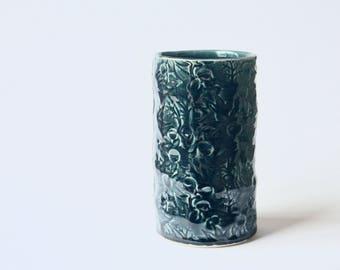Medium Vase with Flannel Flower design in deep blue