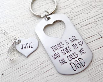 There Is A Girl Who Stole My Heart She Calls Me Dad. Gift For Dad, Daddy's Girl Necklace Matching Set.  Father's Day Gift from Daughter