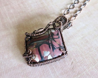 Indian Paint Stone Jasper Wire Wrapped Copper Penant Necklace