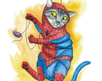 "SALE Spidey Cat - Watercolor 8x10"" print of a cat as Spider-Man tangled in his web"
