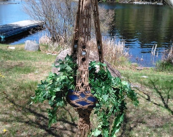 Northern Lights Macrame Plant Hanger With Granite Stone-Colored Beads