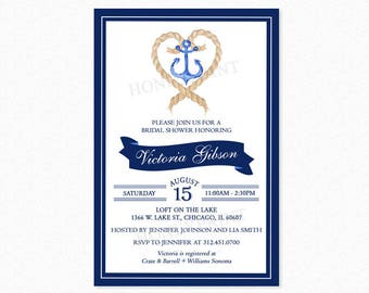 Navy Blue and White Nautical Bridal Shower Invitation, Nautical Theme, Tying the Knot Invitation, Nautical Anchor, Printable or Printed