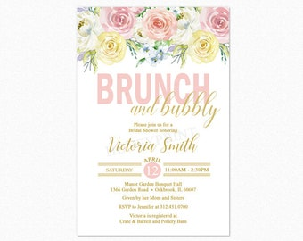 Brunch and Bubbly Bridal Shower Invitation, Brunch Bridal Shower Invitation, Watercolor Flowers, Personalized, Printable or Printed