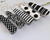 Hair Clip- BLACK and WHITE / Cute hair clip / Alligator hair clip / Women's Hair Accessories