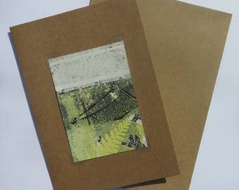 Small original hand printed botanical mini print ACEO Soft dusky yellow and white on cream paper by Stef Mitchell Boho fern nature print