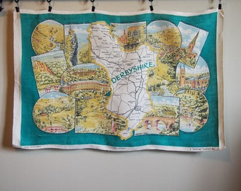 Derbyshire England UK Vintage Tea Towel Map Travel Souvenir