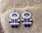 Purple Eskimo Peyote Beaded Earrings
