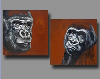 ORIGINAL Paintings -- Male or Female Gorilla 24x24 Each -- Real Rust Background -- Congo Fading I and II by Britt Hallowell
